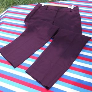 Loft Marissa Straight Fit Pants Burgundy 10